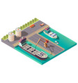 isometric port delivering petroleum or oil sea vector image vector image