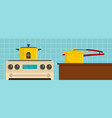 kitchen tool banner horizontal flat style vector image