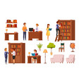 library flat orthogonal icons vector image