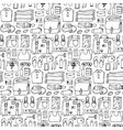 Man Travel Doodle Seamless Pattern vector image
