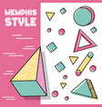 memphis style pattern 3d figures geometric vector image