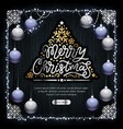 merry christmas golden decoration on dark wood vector image