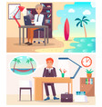 office workers dream about vacation on island vector image vector image