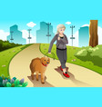 old lady exercising with her dog outdoor vector image vector image