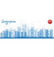 Outline Singapore skyline with blue landmarks vector image vector image