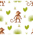 pattern with monkey on white background vector image vector image