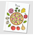 pizza doodles lined paper colored vector image vector image