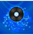 Retro Vinyl Disc on Blue Background vector image vector image