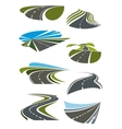 Roads and highway icons set vector image vector image
