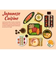 Seafood and meat dishes of japanese cuisine icon vector image vector image