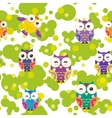 Seamless pattern - bright colorful owls and green vector image vector image
