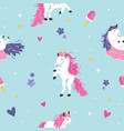 seamless pattern with cute dreaming unicorns vector image vector image