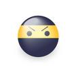 smiley ninja with an angry emoji face ninja vector image