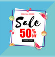 special offer sale 50 off square frame blue backg vector image vector image