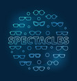 spectacles round blue linear vector image vector image