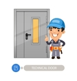 Technical Door and Worker vector image vector image