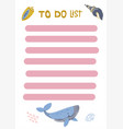 to-do list with cute nautical - whaleand shells vector image