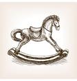 Vintage rocking horse sketch vector image vector image