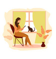 work at home freelance girl works vector image vector image