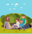 young family with children having fun in nature vector image