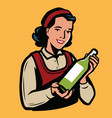 young girl with a bottle olive oil or other vector image