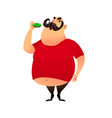 fat guy takes a bite of a donut funny cartoon vector image