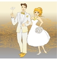 Hand Drawn Wedding Couple Just Married text vector image