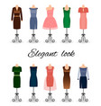 fashion women dresses in different colors vector image