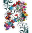 floral face vector image