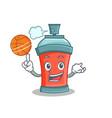 basketball aerosol spray can character cartoon vector image