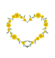 Beautiful Yellow Daisy Flowers in Heart Shape vector image vector image