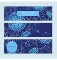 blue night flowers horizontal banners set pattern vector image vector image