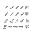 brushes and painting sign thin line icon set vector image
