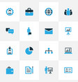 Business colorful icons set collection of vector image