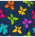 Butterflies and Waves Pattern vector image