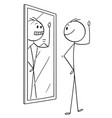 cartoon of man looking at himself in the mirror vector image vector image
