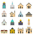 church building icons set isolated vector image