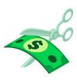 cut money icon isometric style vector image