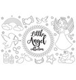 cute little angel set coloring book page for kids vector image