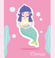 cute little mermaid purple hairstyle character vector image vector image