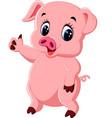 cute pig cartoon posing vector image vector image