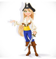 cute pirate girl with cutlass isolated on a white vector image vector image