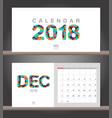 december 2018 calendar desk calendar modern vector image vector image