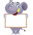 elephant with blank sign vector image vector image
