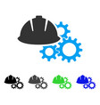 engineering helmet and gears flat icon vector image vector image