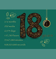 floral card with number eighteen and pocket watch vector image vector image