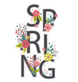 floral poster with lettering spring vector image vector image