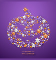 halloween pumpkin background with shining stars vector image