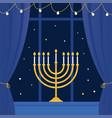 hanukkah and room window vector image