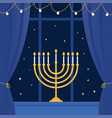 hanukkah menorah and room window vector image vector image